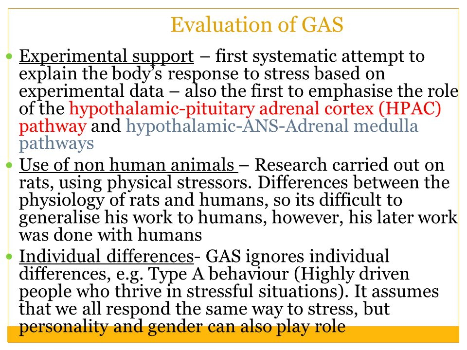 Evaluation of GAS