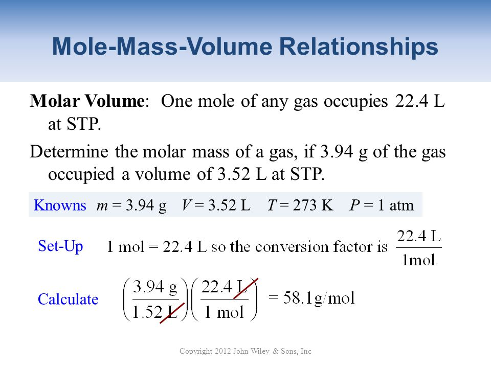 Mole-Mass-Volume Relationships