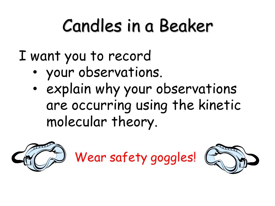 Candles in a Beaker I want you to record your observations.