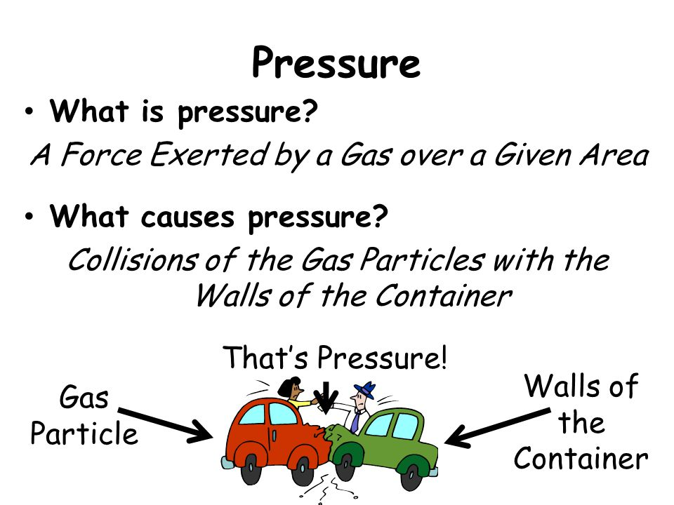 Pressure What is pressure A Force Exerted by a Gas over a Given Area