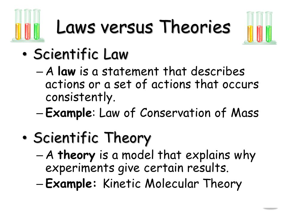 Laws versus Theories Scientific Law Scientific Theory