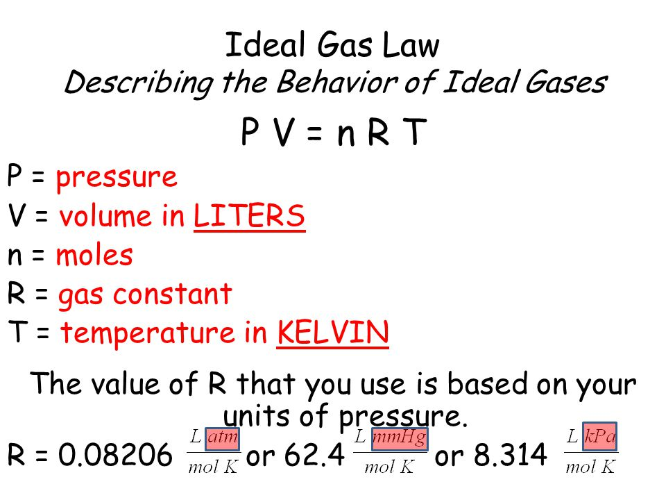 Ideal Gas Law Describing the Behavior of Ideal Gases