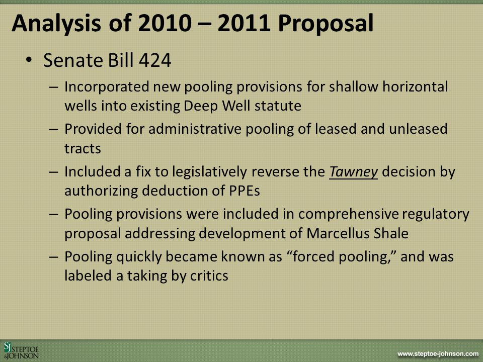 Analysis of 2010 – 2011 Proposal Senate Bill 424