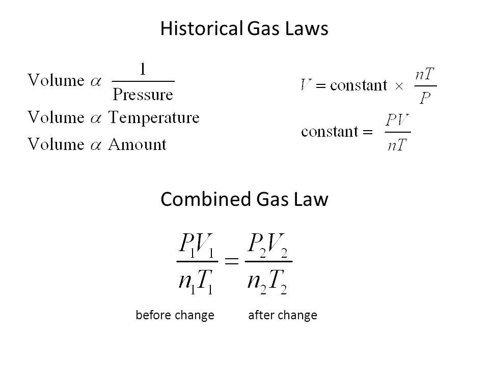 Historical Gas Laws Combined Gas Law before change after change
