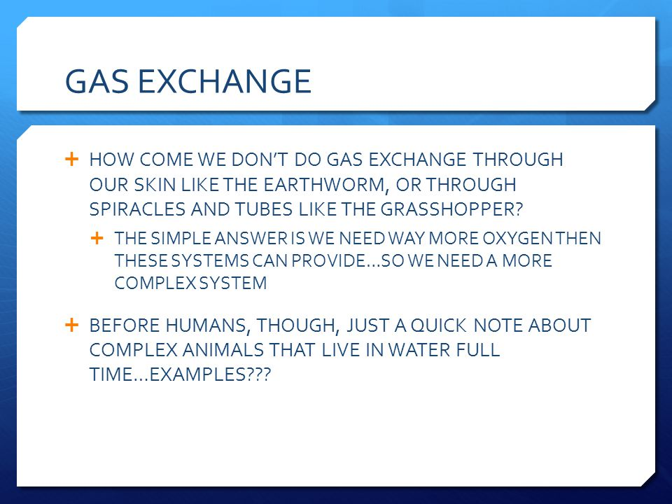 GAS EXCHANGE HOW COME WE DON'T DO GAS EXCHANGE THROUGH OUR SKIN LIKE THE EARTHWORM, OR THROUGH SPIRACLES AND TUBES LIKE THE GRASSHOPPER