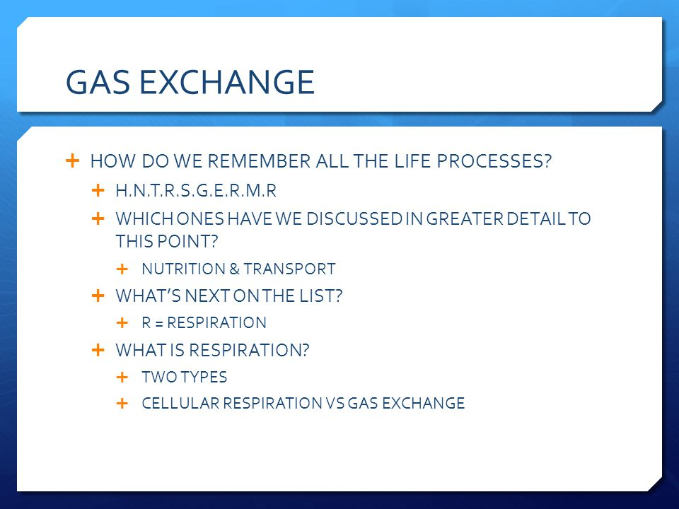 GAS EXCHANGE HOW DO WE REMEMBER ALL THE LIFE PROCESSES