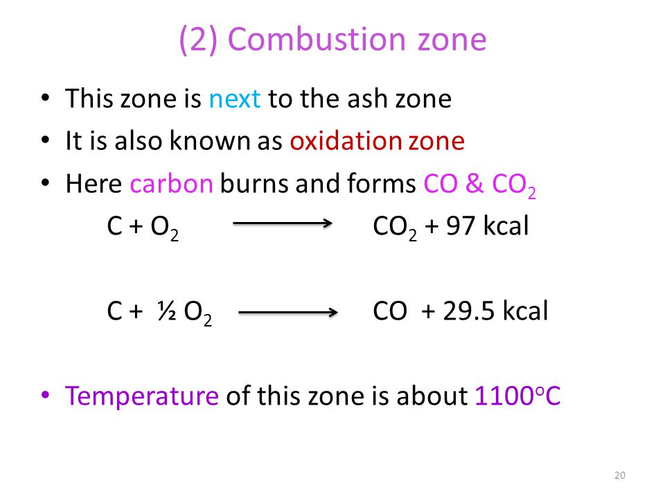 (2) Combustion zone This zone is next to the ash zone