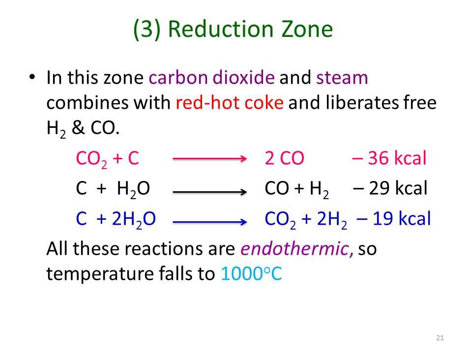 (3) Reduction Zone In this zone carbon dioxide and steam combines with red-hot coke and liberates free H2 & CO.