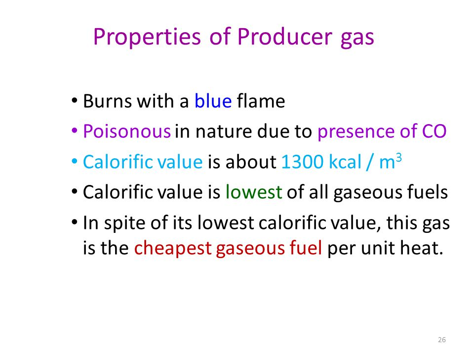 Properties of Producer gas