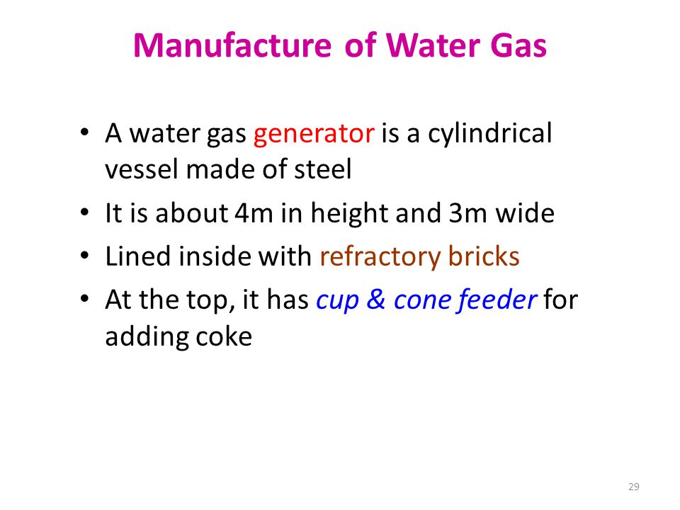 Manufacture of Water Gas