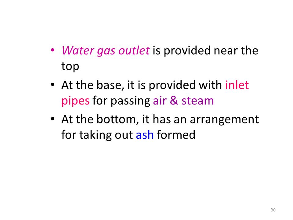 Water gas outlet is provided near the top