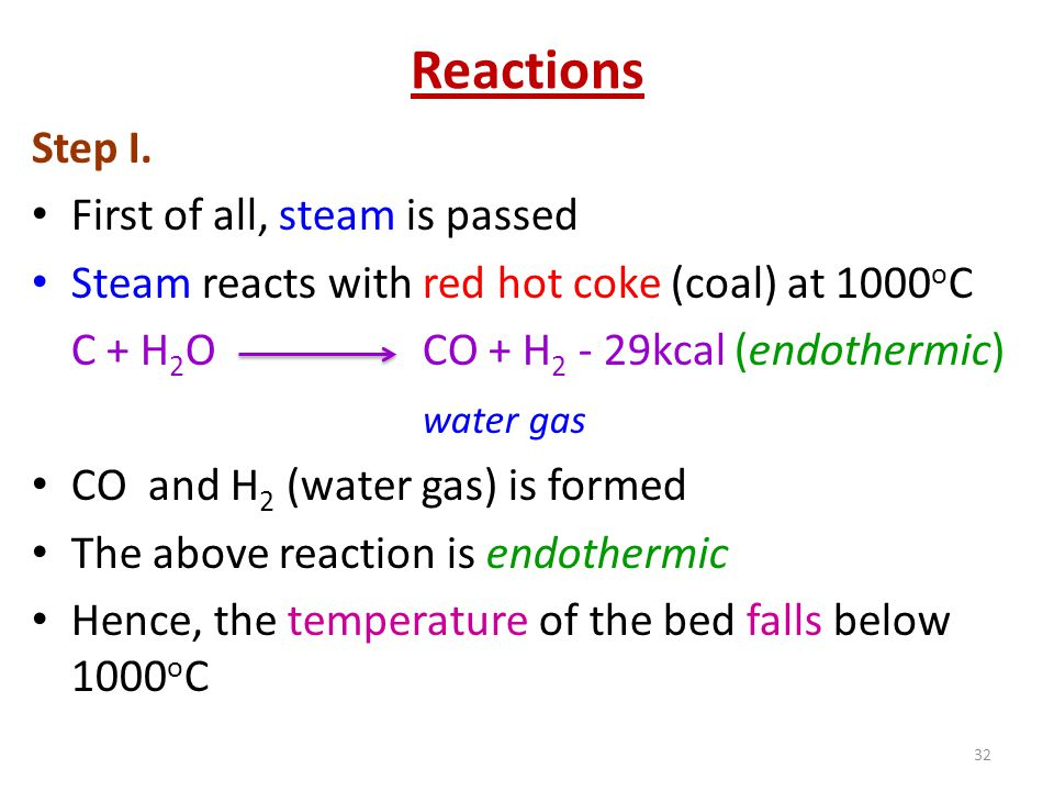 Reactions Step I. First of all, steam is passed