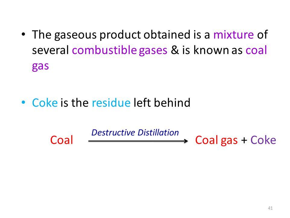 Coke is the residue left behind Coal Coal gas + Coke