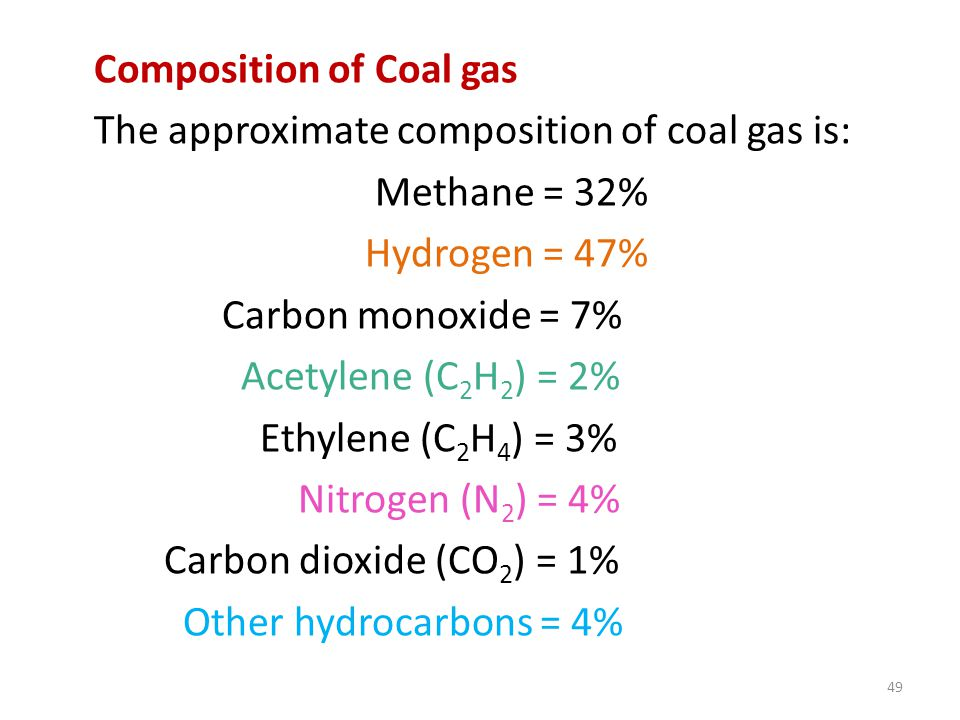 Composition of Coal gas The approximate composition of coal gas is: Methane = 32% Hydrogen = 47% Carbon monoxide = 7% Acetylene (C2H2) = 2% Ethylene (C2H4) = 3% Nitrogen (N2) = 4% Carbon dioxide (CO2) = 1% Other hydrocarbons = 4%