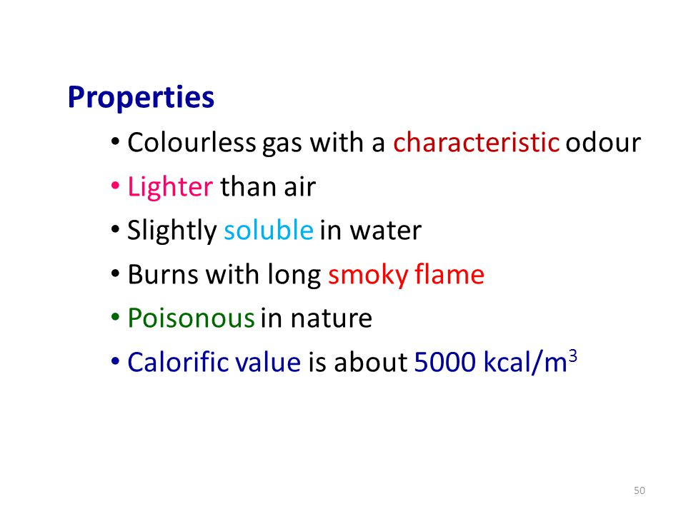 Properties Colourless gas with a characteristic odour Lighter than air