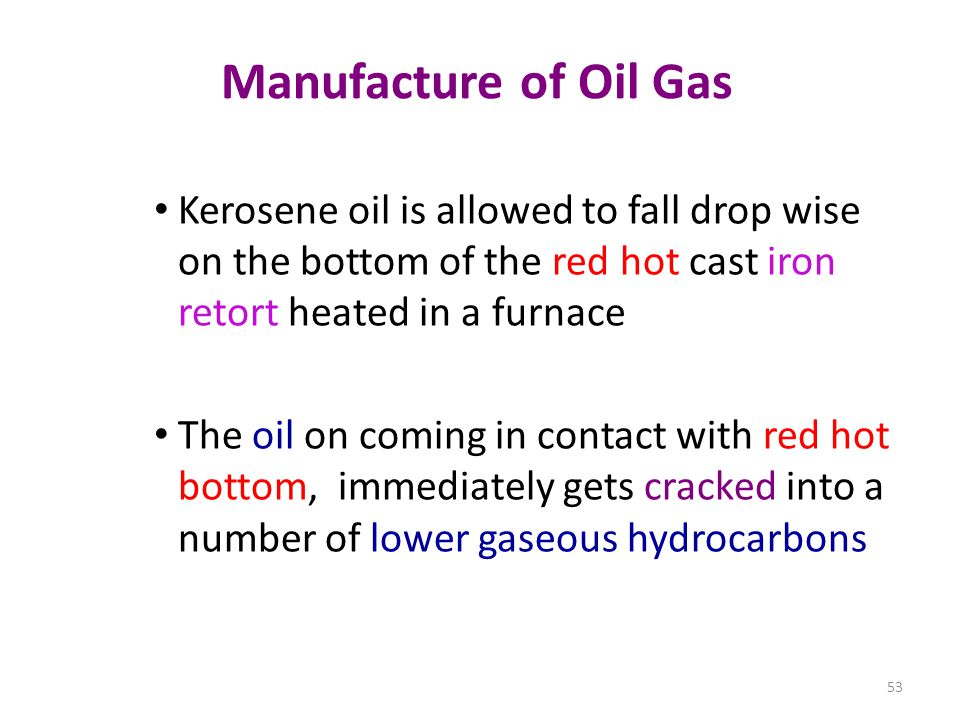 Manufacture of Oil Gas Kerosene oil is allowed to fall drop wise on the bottom of the red hot cast iron retort heated in a furnace.