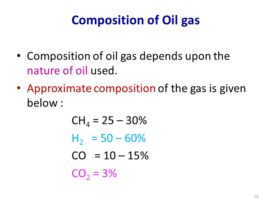 Composition of Oil gas Composition of oil gas depends upon the nature of oil used. Approximate composition of the gas is given below :