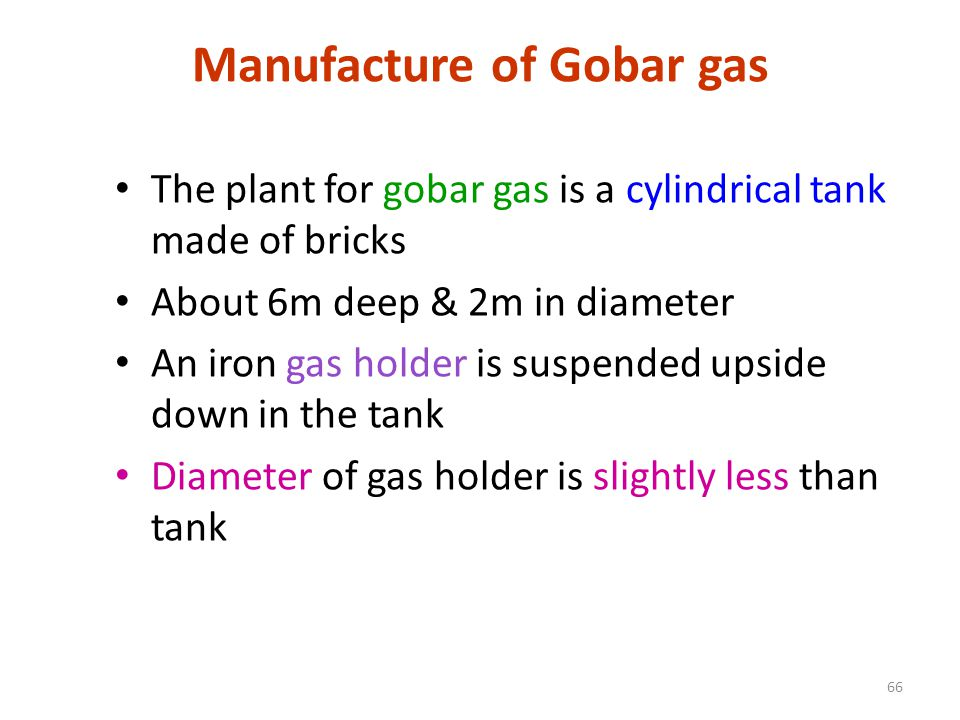 Manufacture of Gobar gas