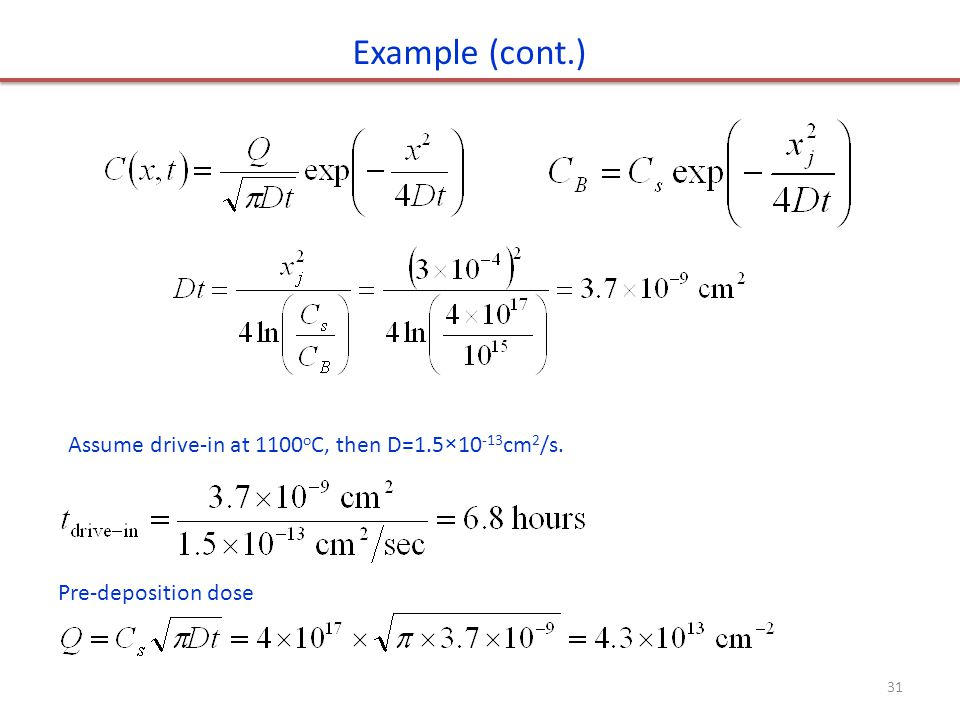 Example (cont.) Assume drive-in at 1100oC, then D=1.5×10-13cm2/s.