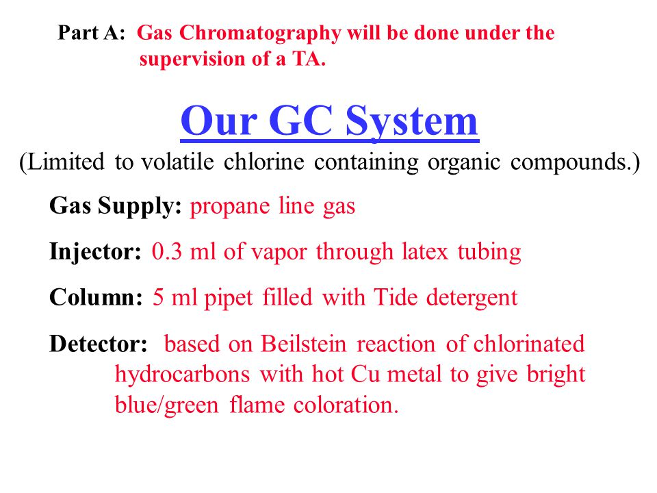 Part A: Gas Chromatography will be done under the