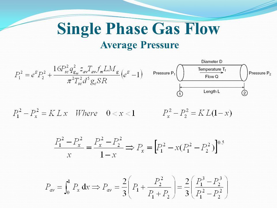 Single Phase Gas Flow Average Pressure