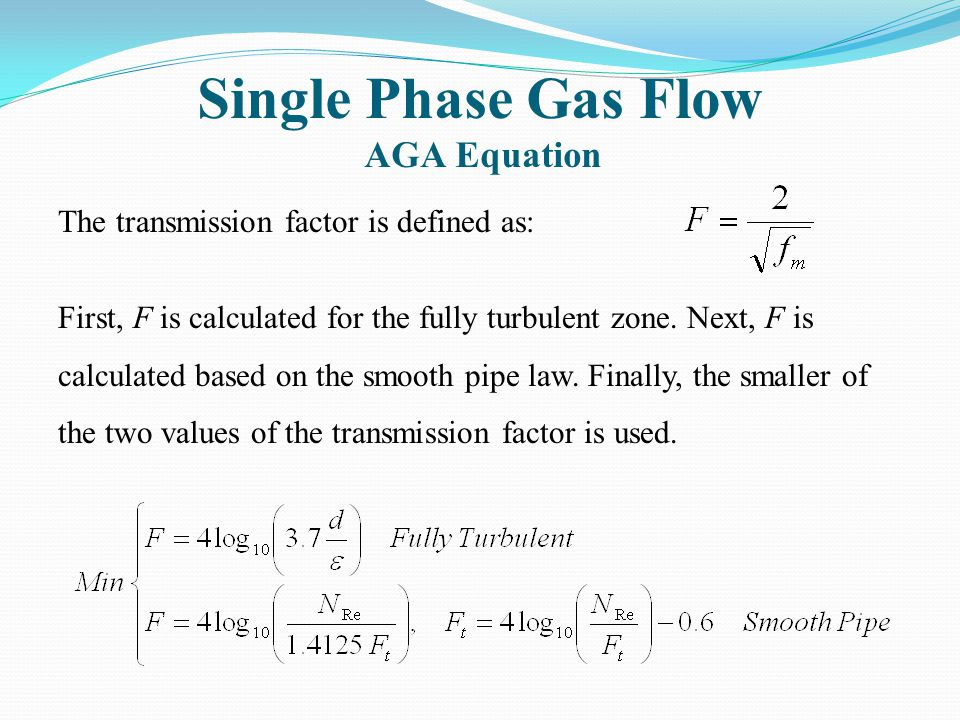 Single Phase Gas Flow AGA Equation