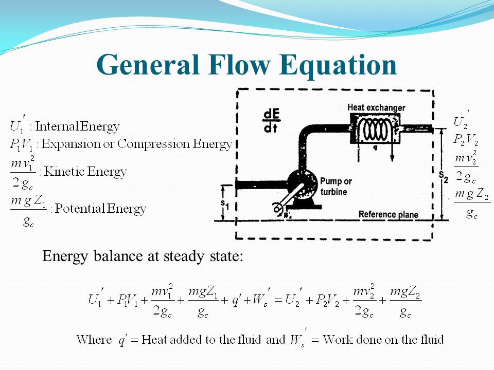 General Flow Equation Energy balance at steady state:
