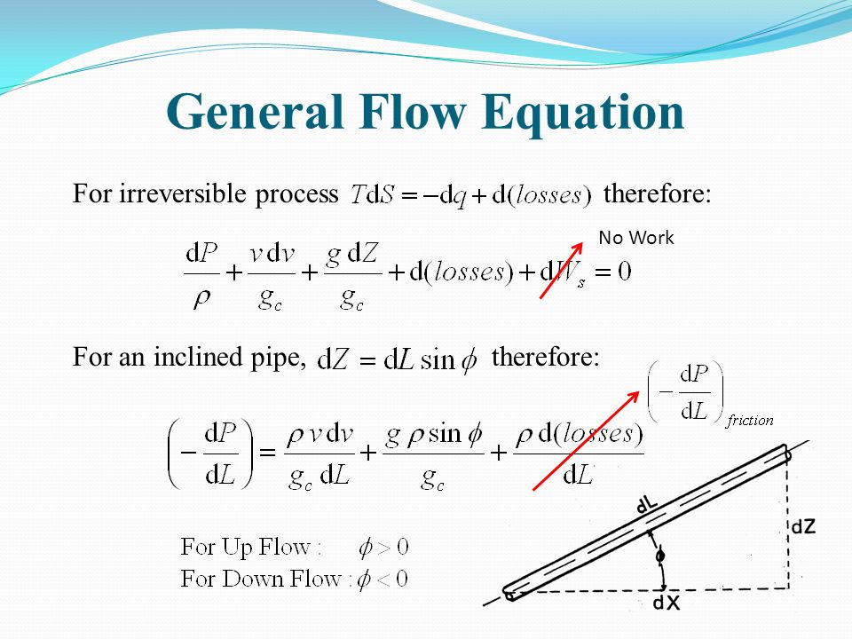 General Flow Equation For irreversible process therefore: For an inclined pipe, therefore: No Work