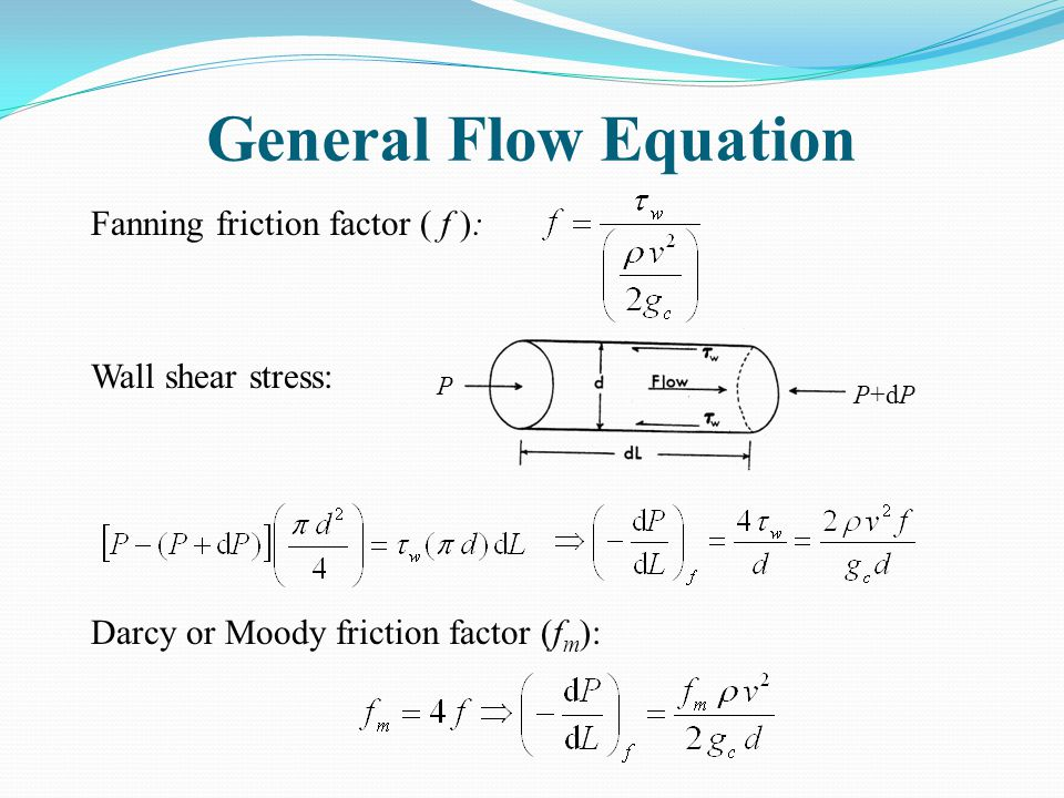 General Flow Equation Fanning friction factor ( f ): Wall shear stress: Darcy or Moody friction factor (fm):
