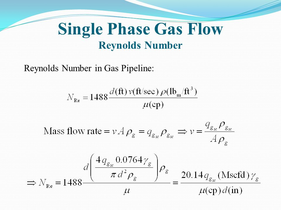 Single Phase Gas Flow Reynolds Number