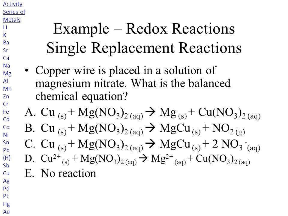 Single Replacement Reaction Examples Chemical Equations Chapter 8