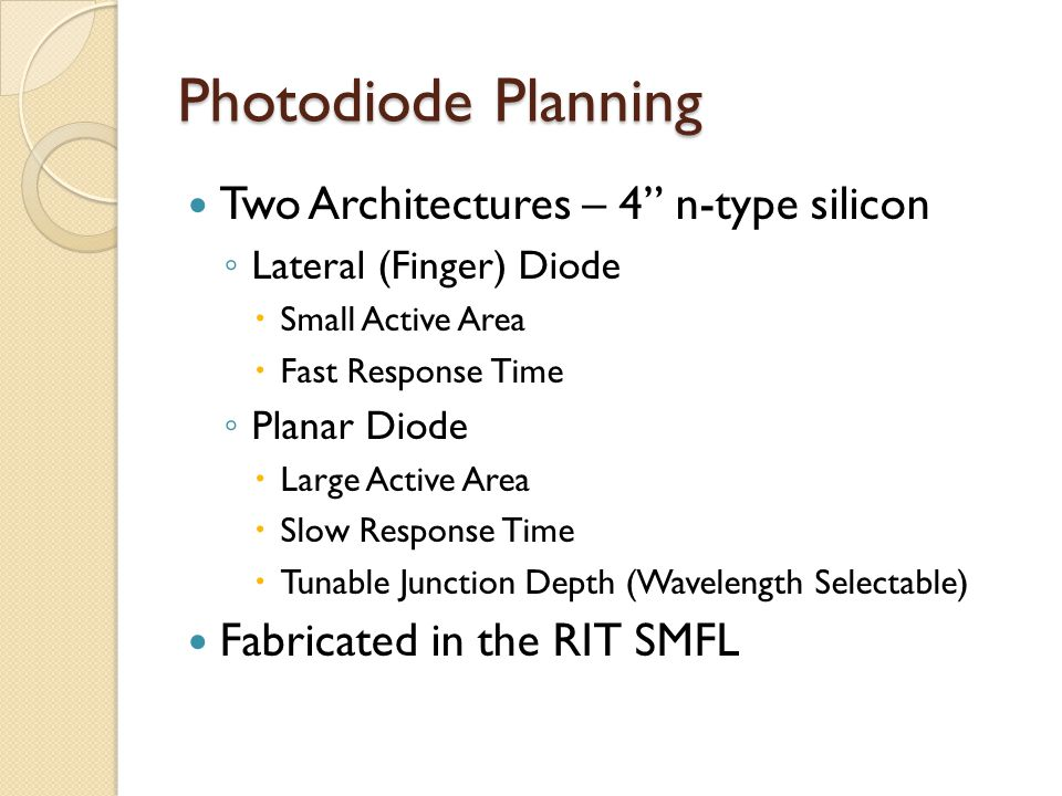 Photodiode Planning Two Architectures – 4 n-type silicon