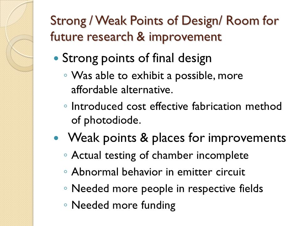 Strong / Weak Points of Design/ Room for future research & improvement