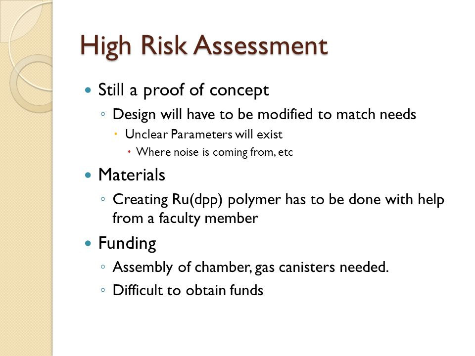 High Risk Assessment Still a proof of concept Materials Funding