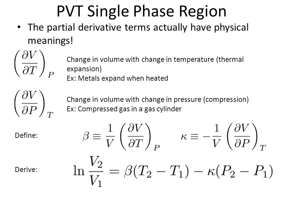 PVT Single Phase Region