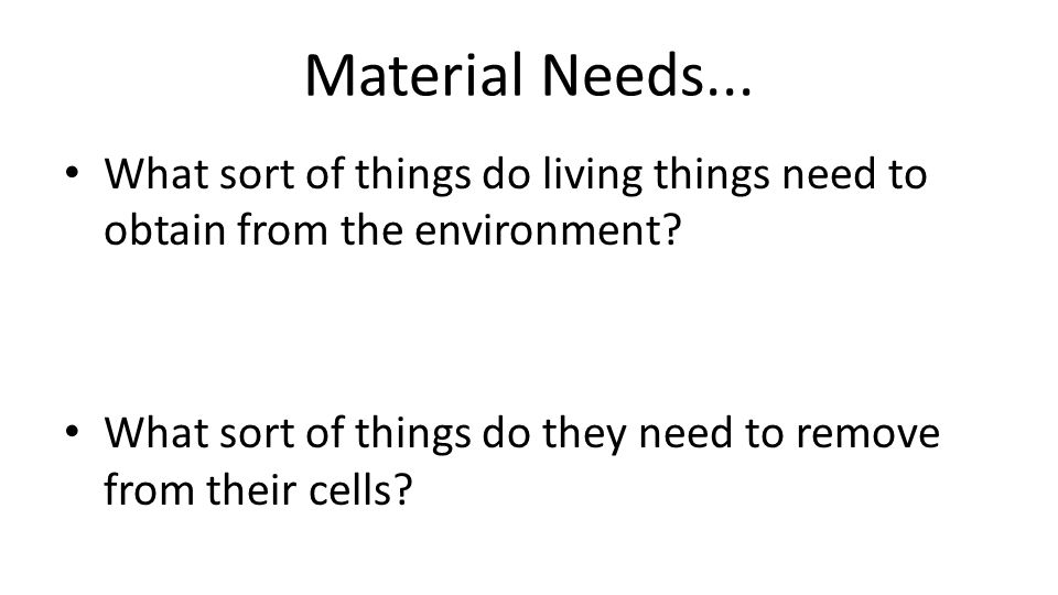 Material Needs... What sort of things do living things need to obtain from the environment