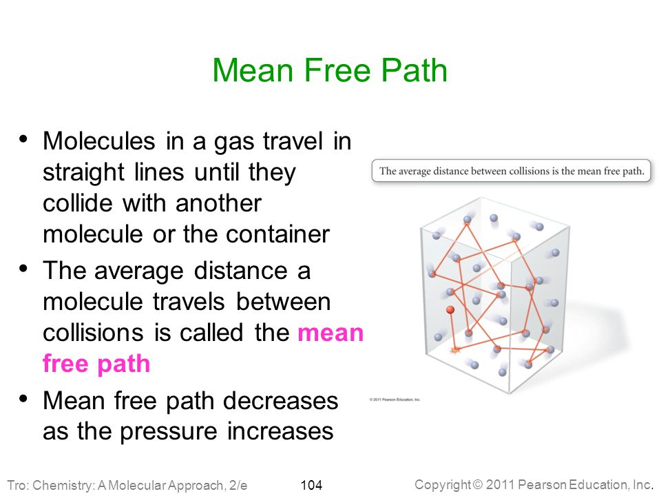 Mean Free Path Molecules in a gas travel in straight lines until they collide with another molecule or the container.