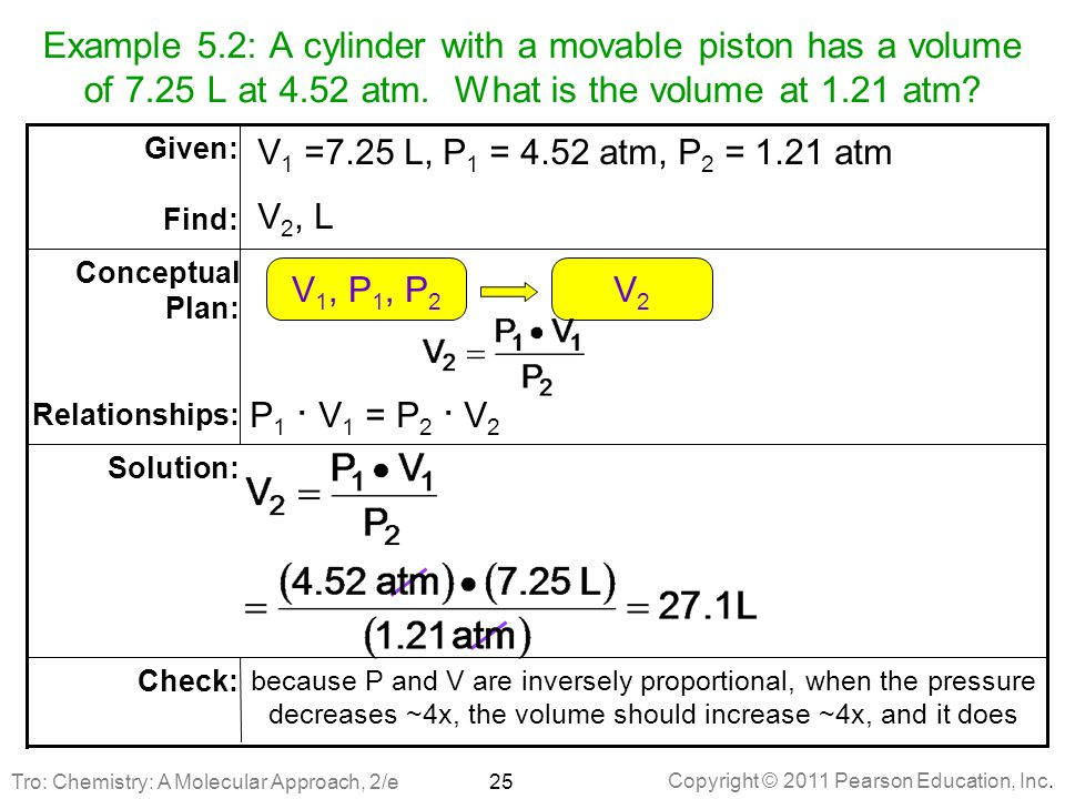 Example 5. 2: A cylinder with a movable piston has a volume of 7