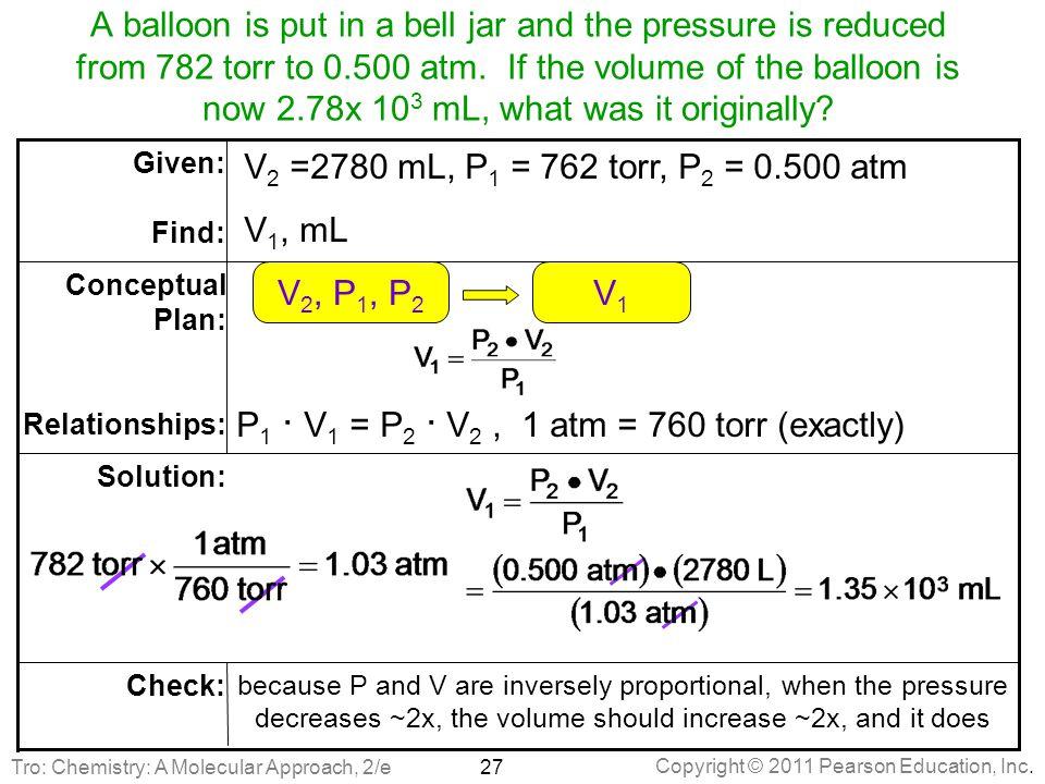 P1 ∙ V1 = P2 ∙ V2 , 1 atm = 760 torr (exactly) V2, P1, P2 V1