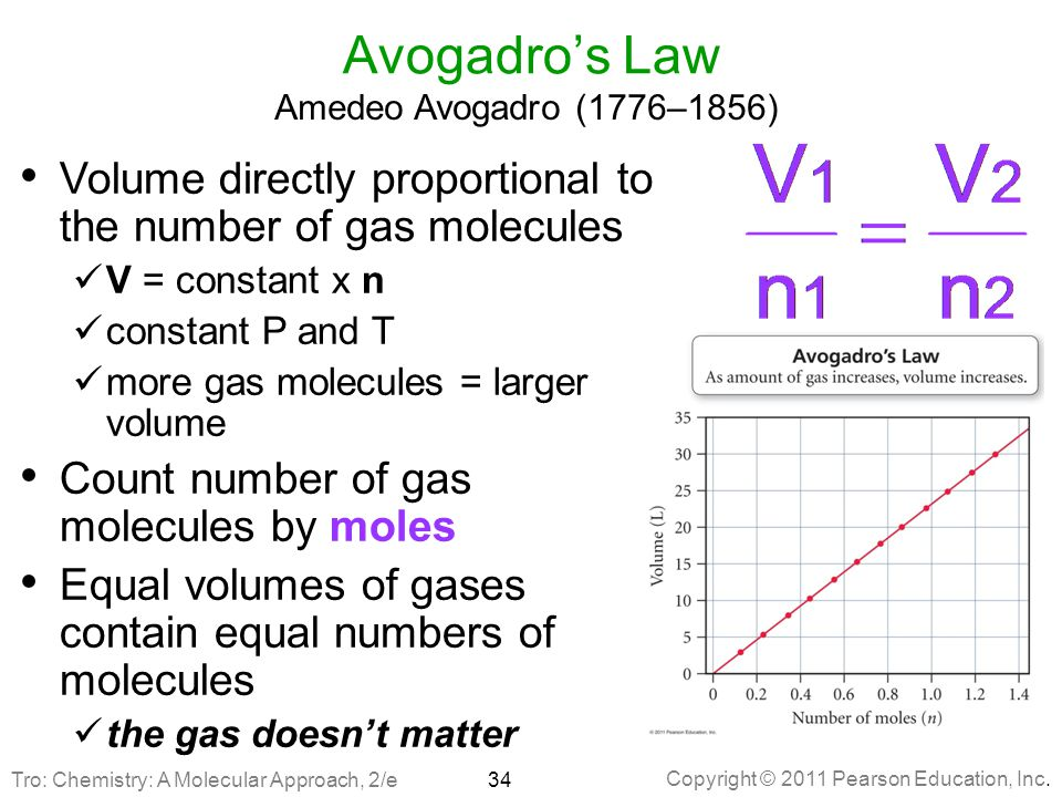 Avogadro's Law Amedeo Avogadro (1776–1856) Volume directly proportional to the number of gas molecules.