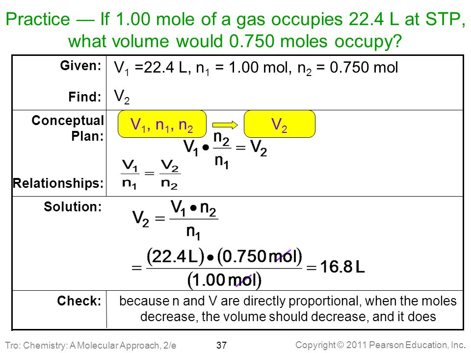 Practice — If 1. 00 mole of a gas occupies 22