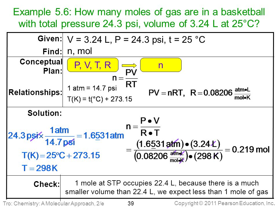Example 5.6: How many moles of gas are in a basketball with total pressure 24.3 psi, volume of 3.24 L at 25°C