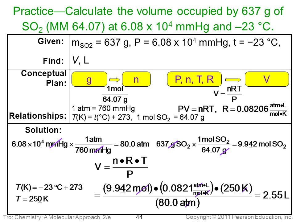 Practice—Calculate the volume occupied by 637 g of SO2 (MM 64.07) at 6.08 x 104 mmHg and –23 °C.