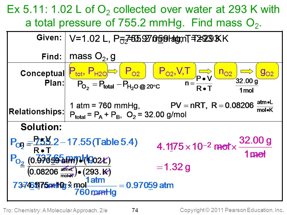 Ex 5.11: 1.02 L of O2 collected over water at 293 K with a total pressure of 755.2 mmHg. Find mass O2.