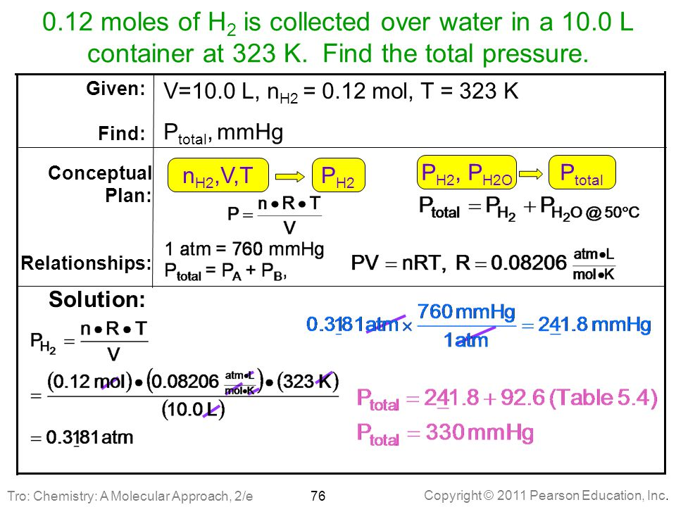 12 moles of H2 is collected over water in a 10. 0 L container at 323 K