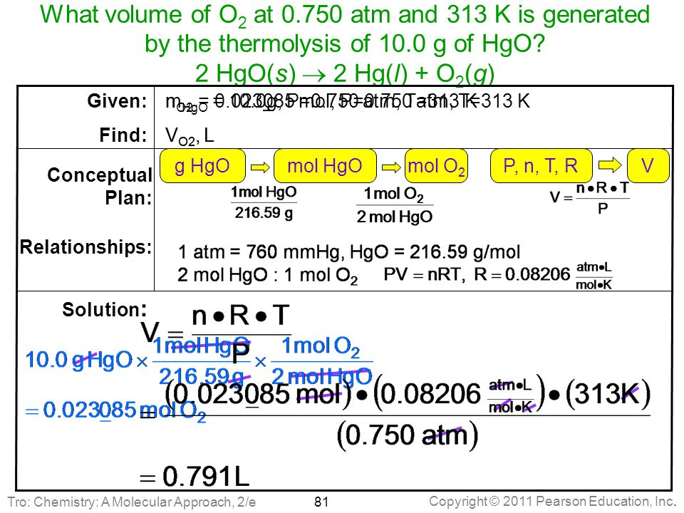 What volume of O2 at 0.750 atm and 313 K is generated by the thermolysis of 10.0 g of HgO 2 HgO(s)  2 Hg(l) + O2(g)