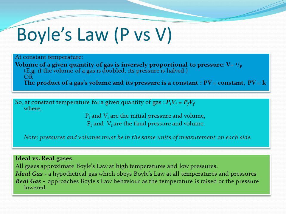 Boyle's Law (P vs V) At constant temperature: