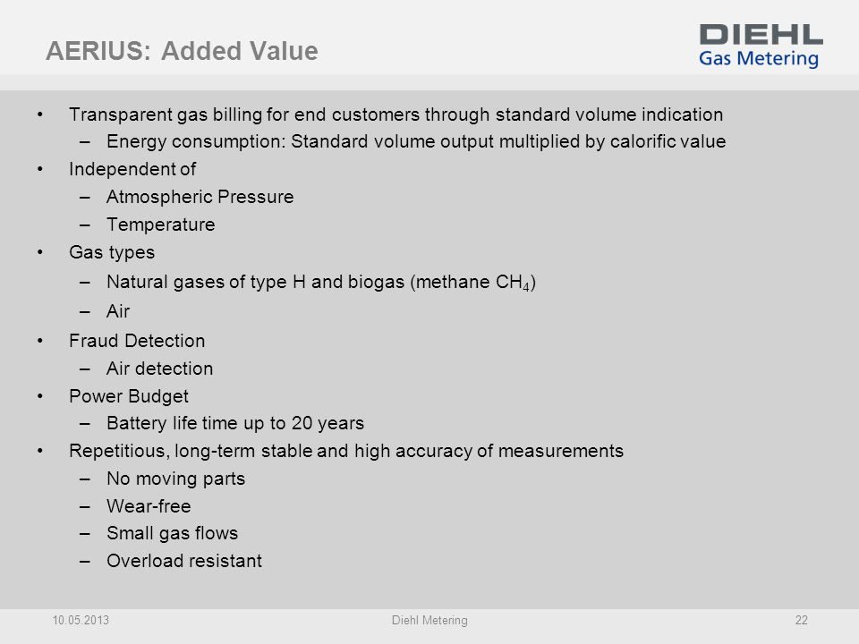 AERIUS: Added Value Transparent gas billing for end customers through standard volume indication.