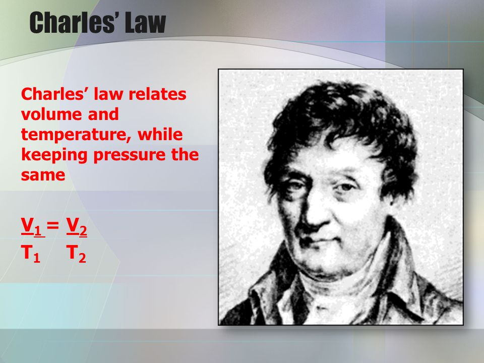 Charles' Law Charles' law relates volume and temperature, while keeping pressure the same. V1 = V2.