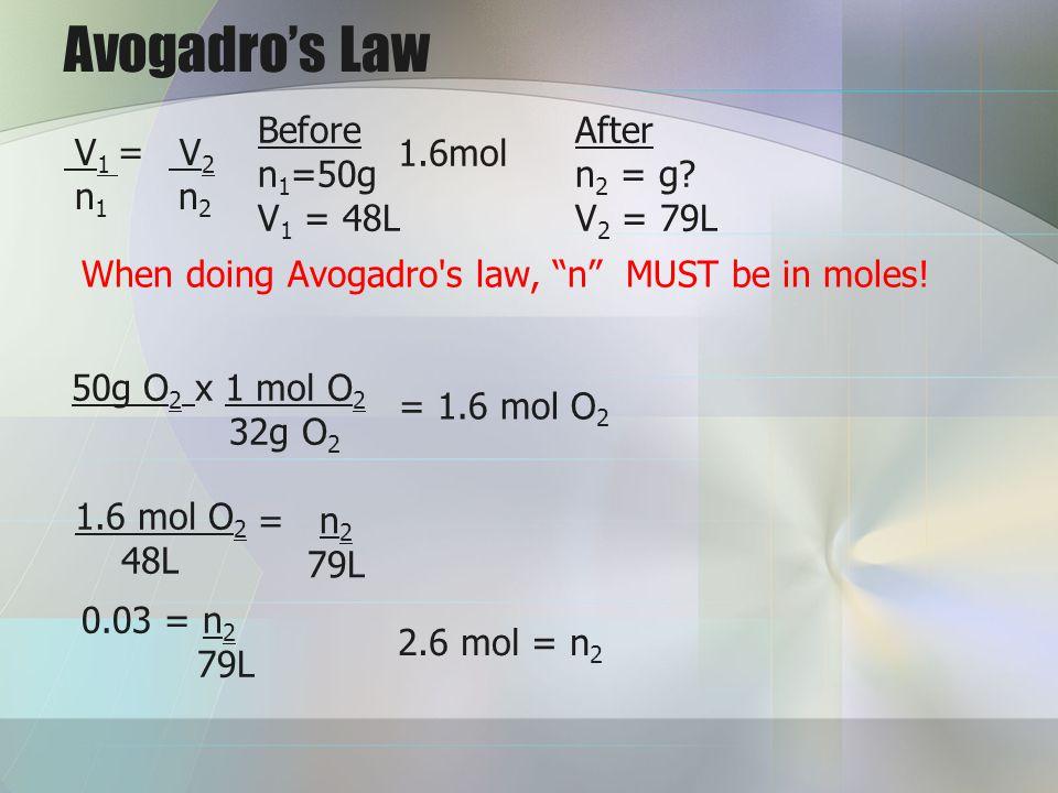 Avogadro's Law Before After n1=50g n2 = g V1 = 48L V2 = 79L V1 = V2